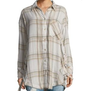 FP Oversized Long Sleeve Plaid Button Down Top